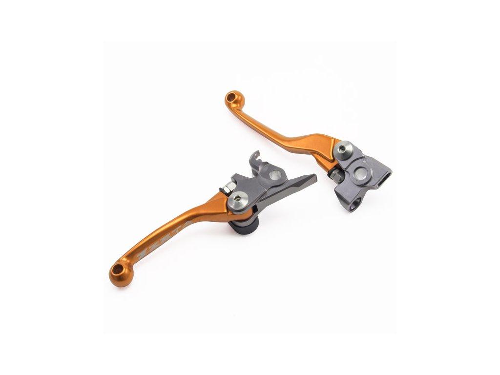 ZETA sada kovaných výklopných páčiek FP KTM + Husqvarna (brzda Brembo 14-17 / spojka Magura / 09-17)  Oranžová