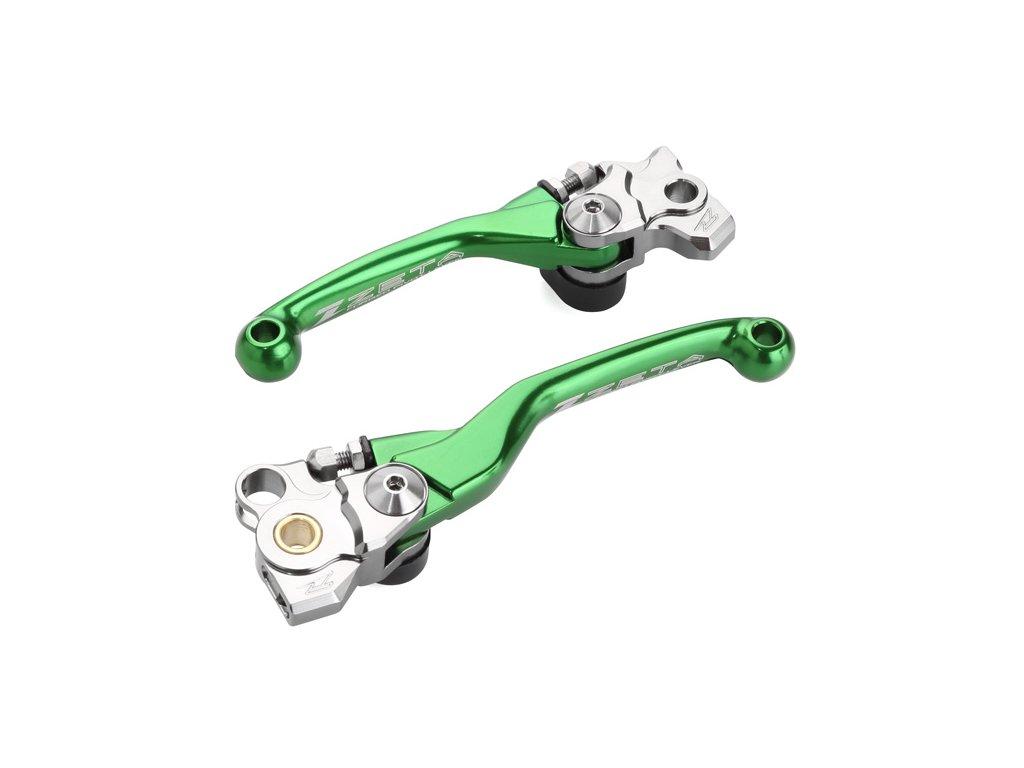 ZETA sada kovaných výklopných páčiek FP KX250 KX450'19- Zelená