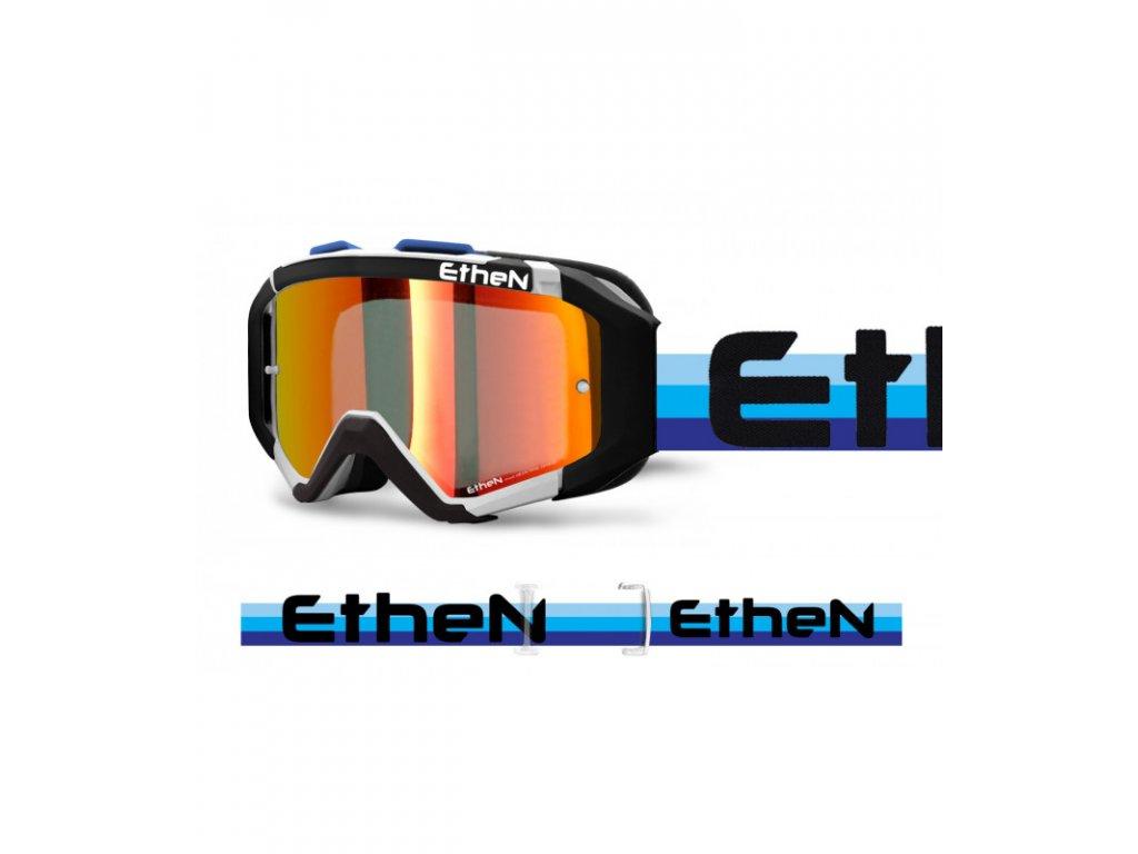 ARES 0726 PLUMA MX okuliare čierno - biele - modré stripes so zrkadlovým sklom TOP MODEL