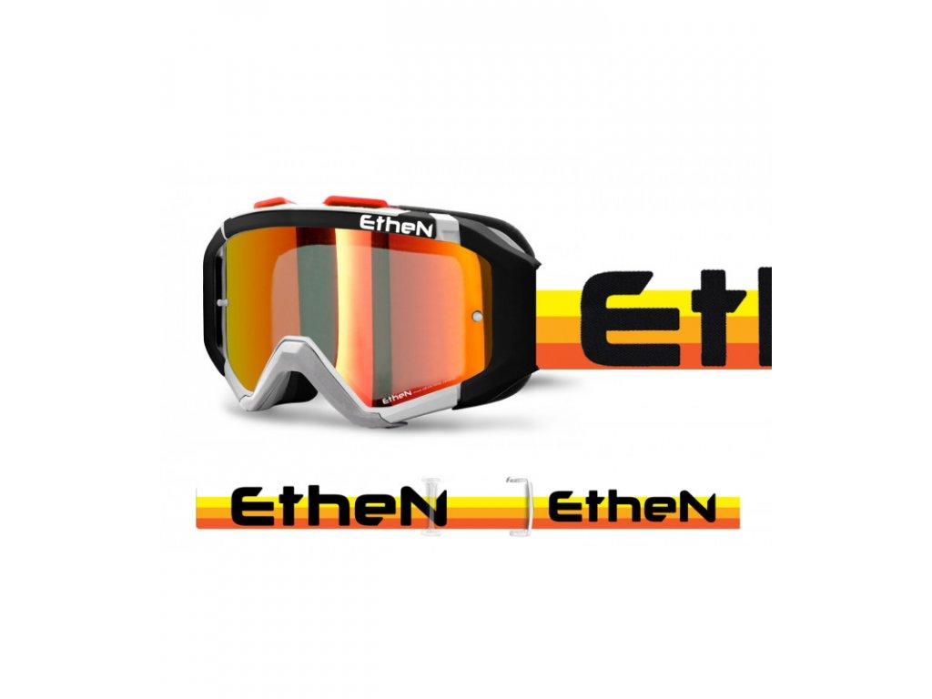 ARES 0725 PLUMA MX okuliare čierno - biele - oranž stripes so zrkadlovým sklom TOP MODEL