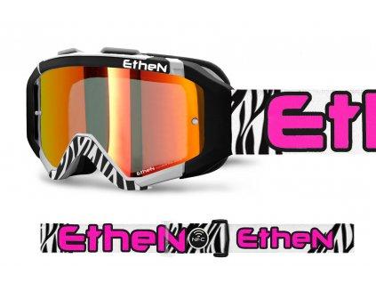 ARES 0719 MX okuliare ZEBRA s červeným zrkadlovým sklom TOP MODEL