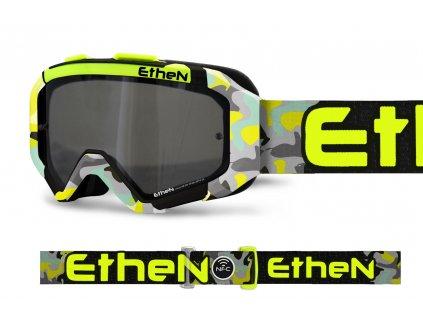 ARES 0721 MX okuliare CAMO žlte FLUO so zrkadlovým strieborným sklom TOP MODEL