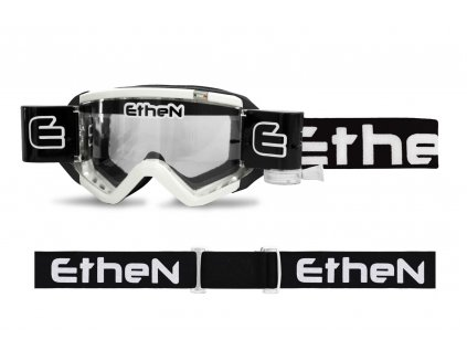 MUD MASK MUD0501 motokrosové okuliare biele s čírym sklom Roll Off 40mm