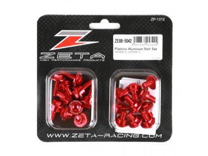 ZETA Sada hliníkových skrutiek do plastov CRF250R'14-17,450'13-16 20ks červená