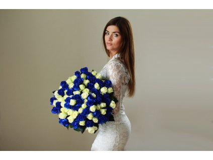 Puget 101 růží – modrá / sněhově bílá
