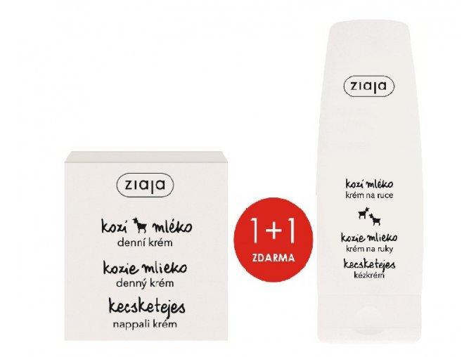 Ziaja Kozí mléko denní krém 50 ml + Kozí mléko krém na ruce 80 ml 1+1 ZDARMA