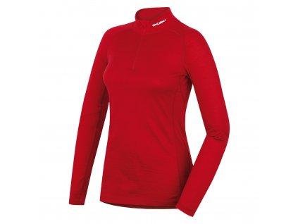 Merino termoprádlo Triko dlouhé dámské se zipem červená