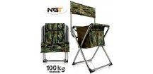 Skládací rybářská stolička NGT Nomad Quick Folding Stool s úložným prostorem pod sedákem