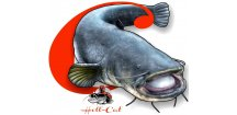 Hell-Cat rybářská samolepka Sumec - malá