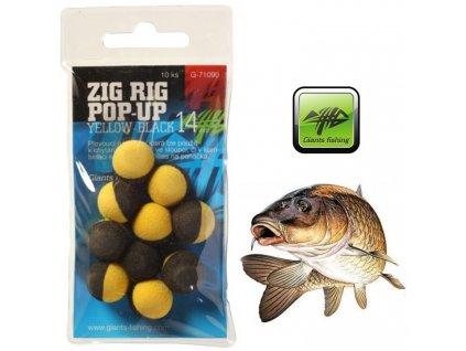 Giants Fishing pěnové plovoucí boilie Zig Rig Pop-Up Yellow/Black - 10 ks