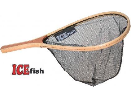 Podběrák ICE Fish raketový dřevěný s pogumovanou síťkou 35 x 22 cm