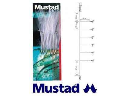 Mustad mořský návazec White Cod Feather Trace T13 6 ks