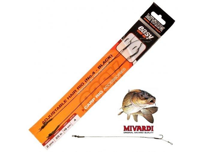 Boilies návazce Mivardi Adjustable hair rig Easy Black
