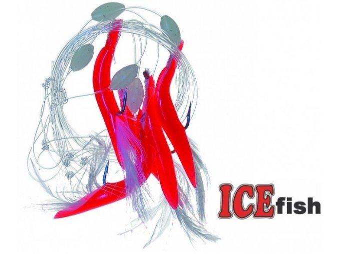 Návazec pro mořský rybolov ICE Fish červené trubičky - 5 ks