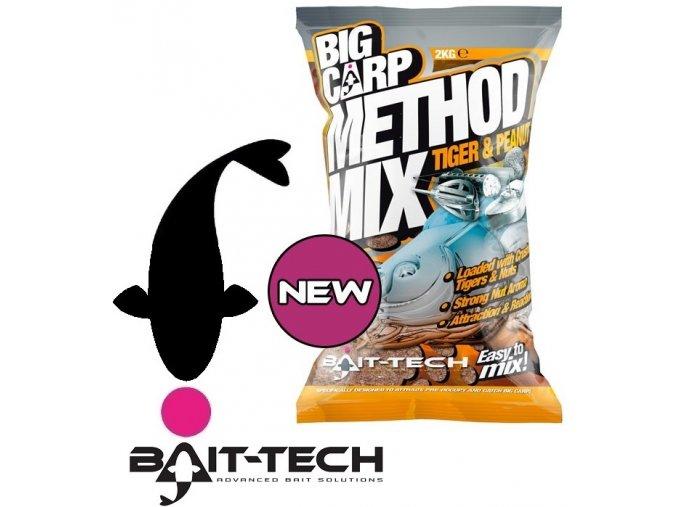Bait-Tech krmítková směs Big Carp Method Mix Tiger & Peanut - 2 kg