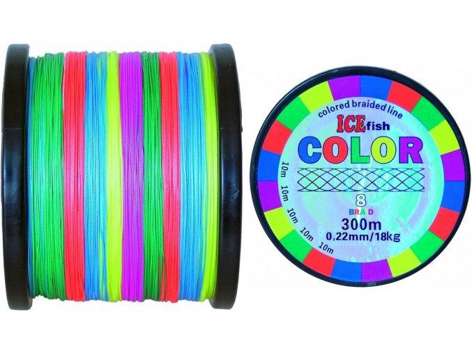 Pletená šňůra ICE Fish Color 8 Braid - 1000 m