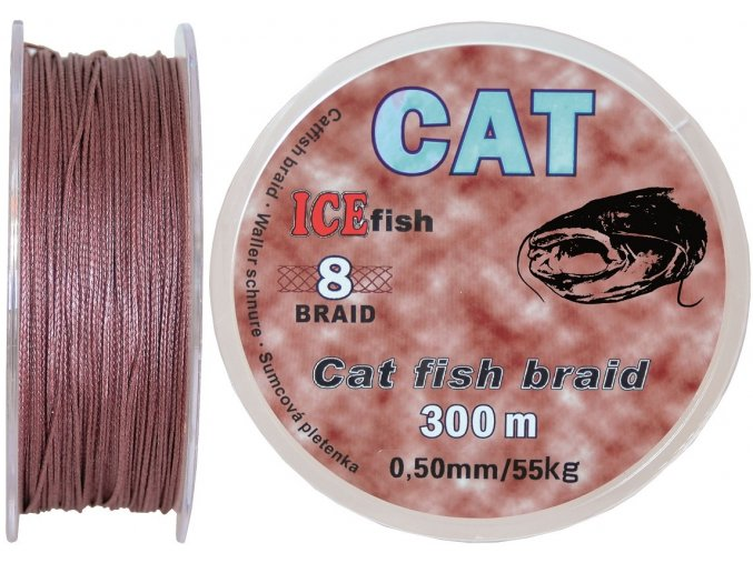 Pletená šňůra na sumce ICE Fish CAT 8 Braid - 300 m