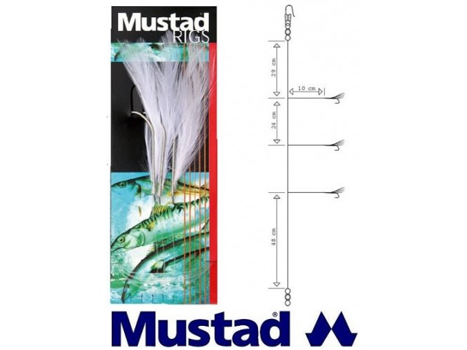 Mustad mořský návazec White Cod Feather Trace T14 - 3 ks