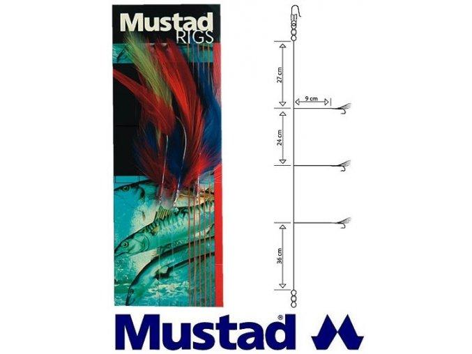 Mustad mořský návazec Coloured Cod Feather Trace T12 - 3 ks