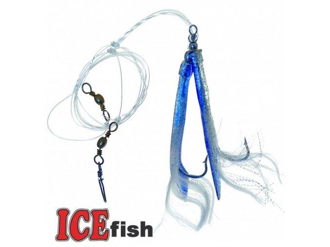 Návazec pro mořský rybolov ICE Fish trubičky MIX A modrá/stříbrná