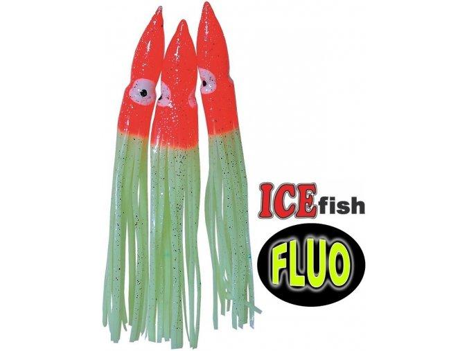 ICE Fish chobotnice na návazce pro mořský rybolov červená/fluo - 3 ks