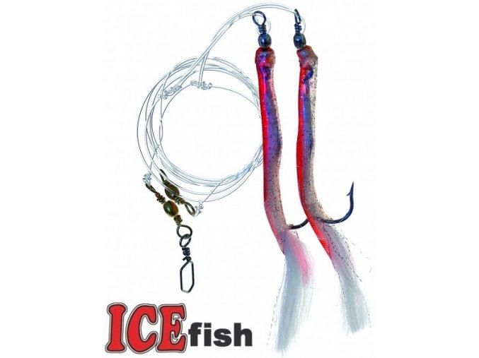 Návazec pro mořský rybolov ICE Fish trubičky MIX C červená/stříbrná