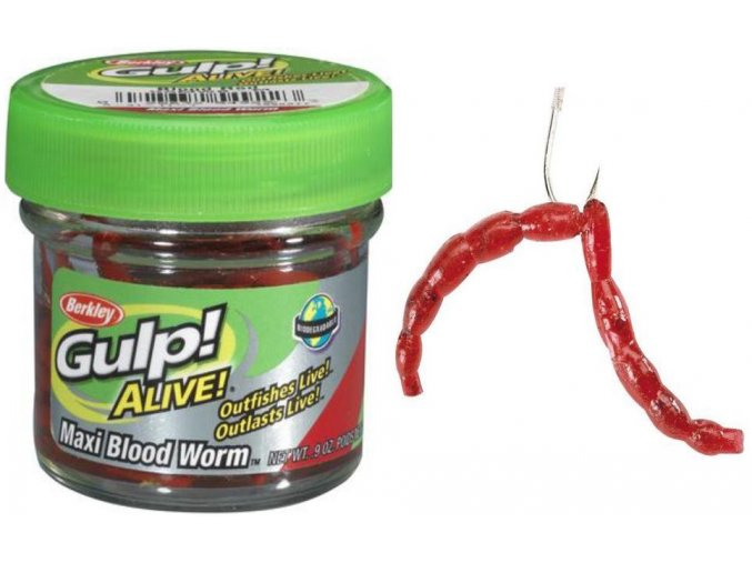Berkley Gulp Alive Maxi Blood Worm patentky velké červené 59 g