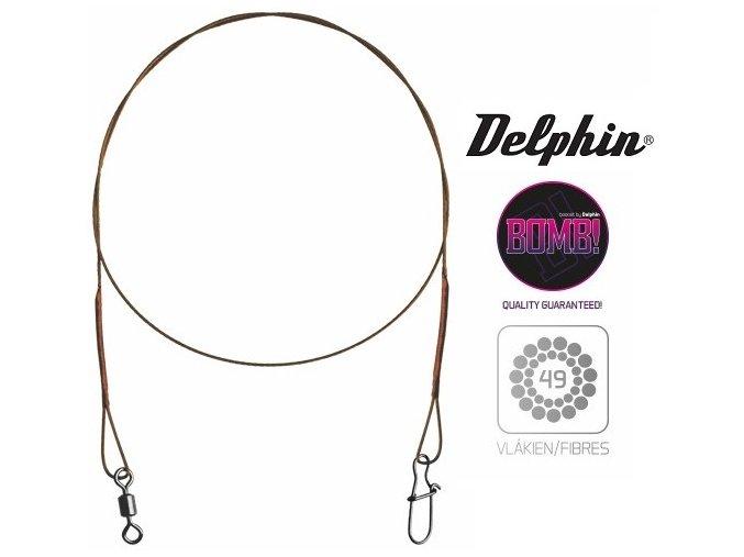 Delphin BOMB! ocelové lanka s obratlíkem a karabinkou - 2 ks