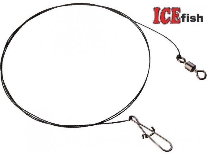 ICE Fish wolframové lanka s obratlíkem a karabinkou - 2 ks