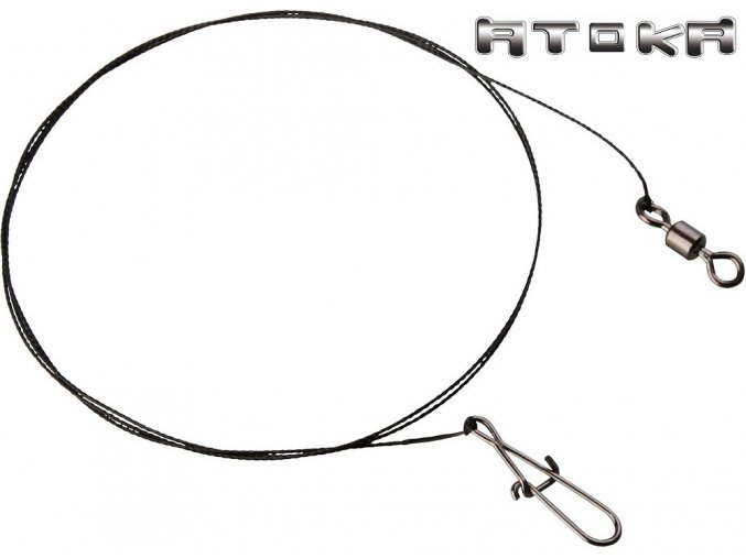 Atoka wolframové lanka s obratlíkem a karabinou - 2 ks