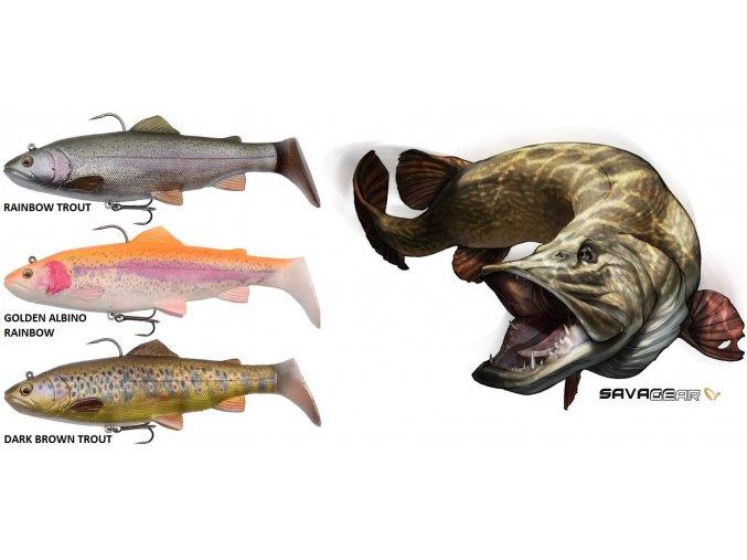 Gumové nástrahy Savage Gear 4D Trout Rattle Shad 17 cm/80 g