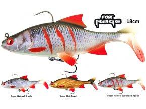 Gumové nástrahy FOX Rage Replicant Roach s realistickým barevným zpracováním 18 cm plotice, perfektním chodem a vysoce kvalitními háčky, které jsou pro vláčecí nástrahy na sumce, štiky, candáty a další dravé ryby nezbytné.