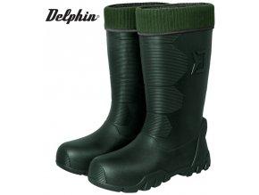 Zateplené rybářské holínky Delphin Brontos vyjímatelnou vnitřní vložkou, protiskluzovou podrážkou a odolnou EVA botou s tepelným komfortem -40°C. Velikost 41 až 46.