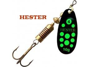 Hester Fishing rotační třpytka Ospray Black Neon Green Dots