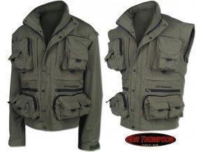 Rybářská nepromokavá bunda Ron Thompson Ontario Jacket s oddělitelnými rukávy, komfortní podšívkou, 17 kapsami a integrovanou kapucí.