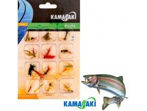 Mušky na pstruhy Kamasaki GS Fly Set 010 sada 12 ks