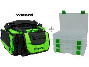 Wizard přívlačová taška Spinning Bag with 4 Plastic Case