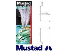 Mustad mořský návazec White Cod Feather Trace T14 - 3 ks