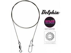 Delphin BOMB! wolframové lanka s obratlíkem a karabinkou - 2 ks