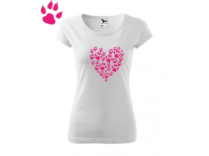 psí tlapky srdce triko bílÁ