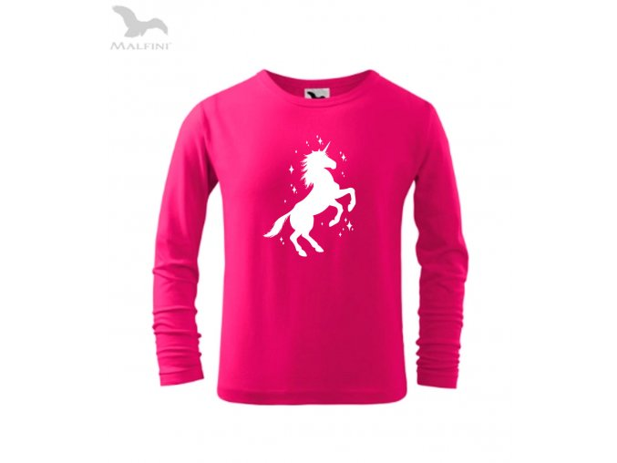 jednorožec dětské triko purpurové růžové DLOUHY RUKAV