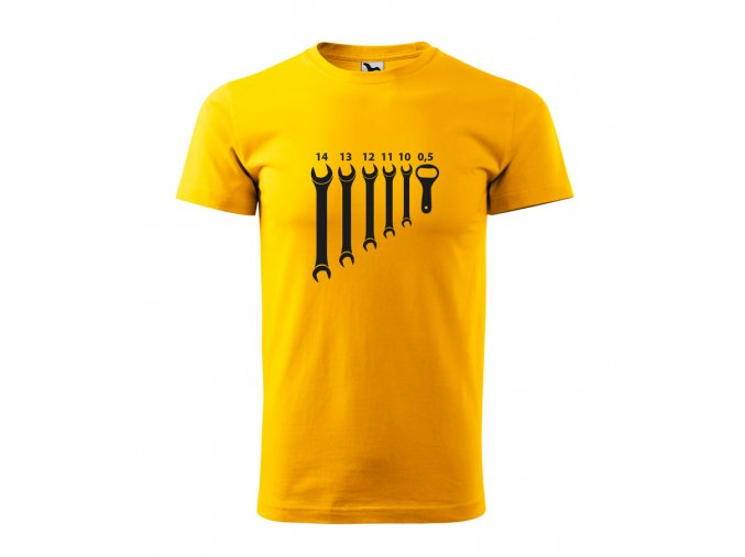 pánské triko s klíčema a otvírákem na pivo žluté