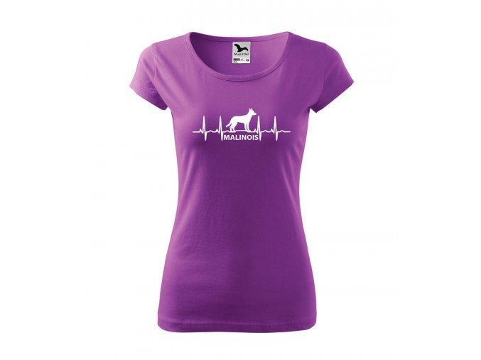 tričko s ekg malinois se psem malinoa dámské fialové