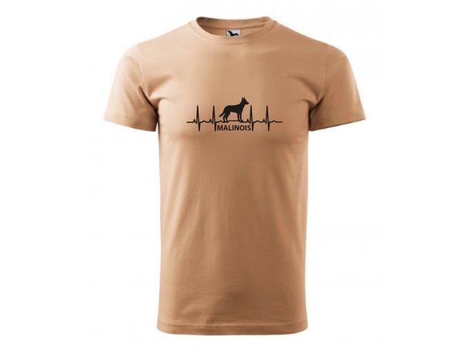 tričko s ekg malinois se psem malinoa pánské pískové
