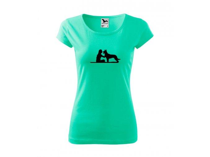 tričko s heolka se psem malinoa dámské mátová