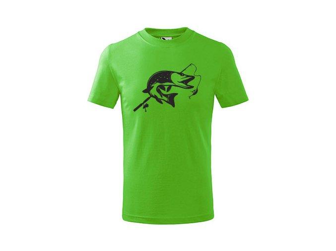 dětské rybářské triko štika zelené