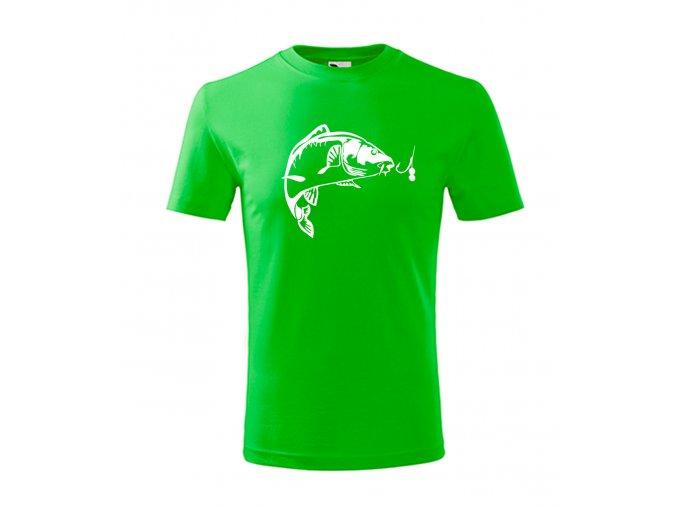 dětské rybářské triko kapříks háčkem zelené