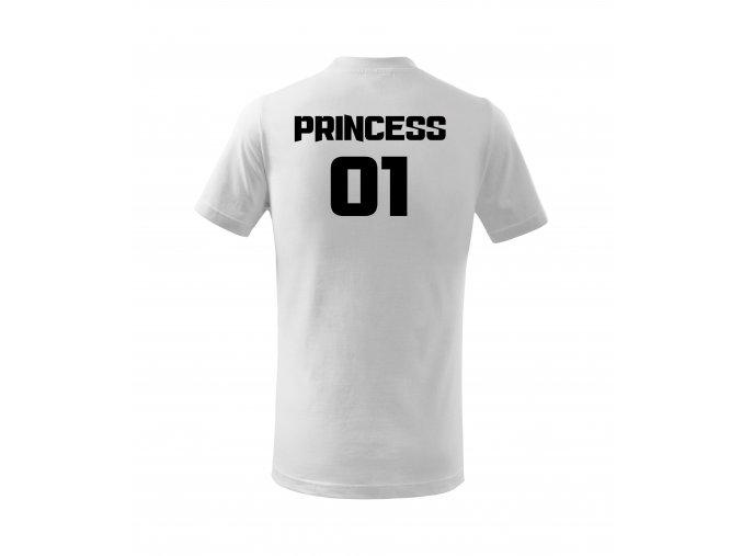 princess bílé triko dětske