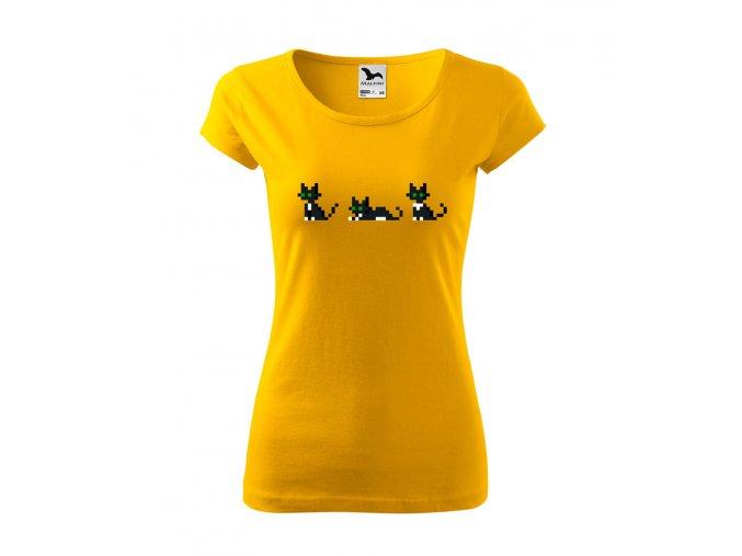 dámské tričko pixel kočky