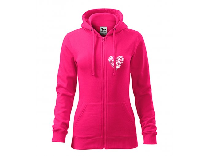 dámská mikina srdce z kaprů růžová